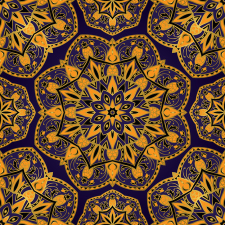 middle: Seamless vector background with intricate ornaments.