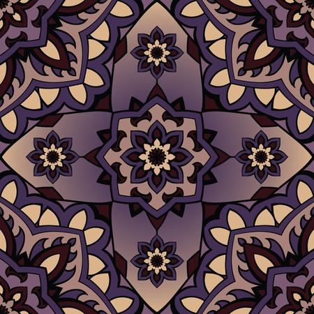 원활한, 동부, 보라색 배경에 만다라의 패턴. 벡터 우아한 장식입니다. 어떤 표면을위한 디자인. 자 수에 대 한 양식에 일치시키는 템플릿.