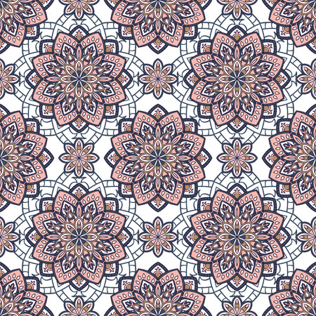 linens: Vector seamless pattern with stylized floral mandalas. Gentle ornament on a white background. Oriental template for design textiles, wallpaper, carpet, linens. Illustration
