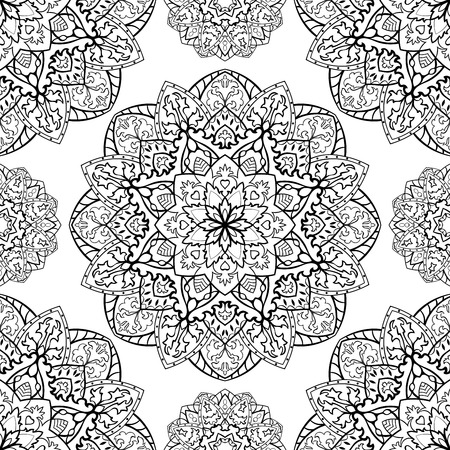 mandala: Traditional,  graphic, vector ornament. Seamless oriental pattern of black contours on a white background. Template for shawl, carpet, wallpaper. Illustration