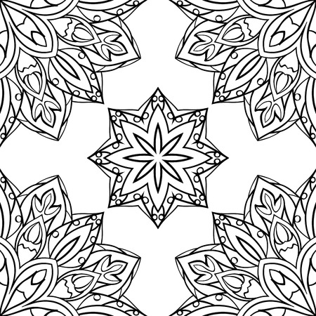 mandalas: Seamless vector black and white background. Eastern ornament of mandalas. Template for textiles, wallpaper and any surface. Illustration