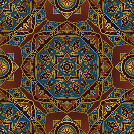 mandalas: Ornamental pattern on a brown background. Oriental, seamless, vector ornament with mandalas. Template for the design of the carpet, textile, tapestry, shawl, wallpaper, tiles, cushion.