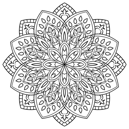 simple: Simple contour mandala on a white background. Round oriental ornament. Floral design element. Sketch of tattoo. Vector pattern for any surface. Mandala for coloring book. Illustration