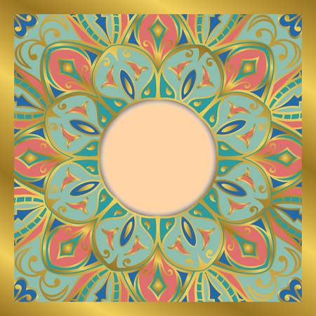 dvd cover: Oriental, tender, ornamental frame. Background with filigree ornaments and place for text. Vector card. Book cover, vinyl cover. CD, DVD cover.