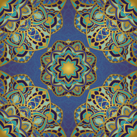 rich wallpaper: Seamless vector background with round element. Rich blue ornament with mandalas. Template for fabric, wallpaper, textiles, bedcover, carpet, shawl, cushion. Stylized colorful pattern.