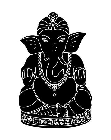 ganesh: Ganesh negro aislado en un fondo blanco. Vectores