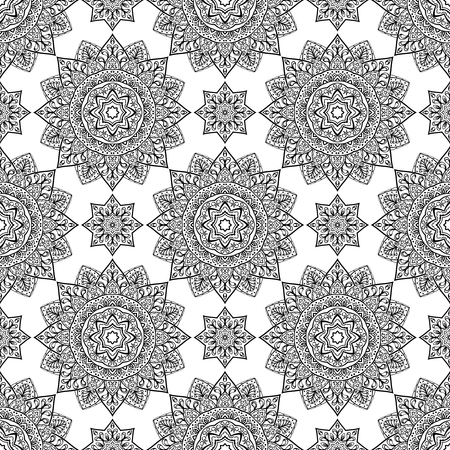 tiles: Ethnic vector ornament. Seamless pattern of black contours on a white background. Template for shawl, carpet, wallpaper.