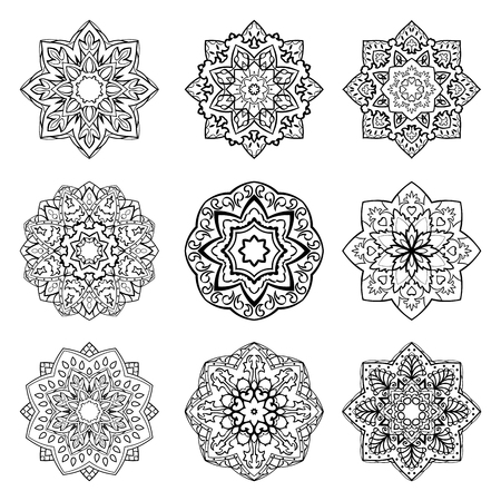 simple: Set of mandalas. Collection of stylized stars and  snowflakes. Vector round ethnic ornaments. Template for  embroidery.  Sketches for henna tattoo. Simple design  elements. Illustration