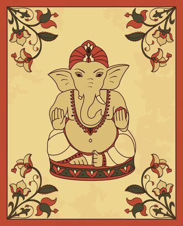 seigneur: carte vintage avec le Seigneur Ganesha. Affiche de vecteur dans le style rétro avec Ganesha et de fleurs.