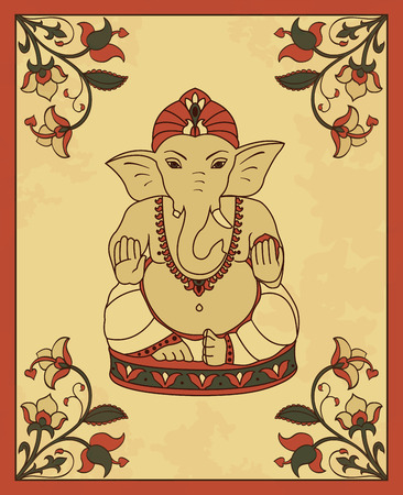 ganesha: Vintage card with Lord Ganesha. Vector poster in retro  style with Ganesha and flowers. Illustration