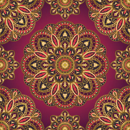 Seamless vector colorful pattern. East ornament with gold contour and colorful details on the pink-purple background. Design of mandalas for textile. Template for carpet.