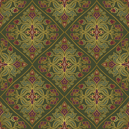 bedcover: Oriental, floral ornament with damask. Templates for carpet, textile, wallpaper, bedcover and any surface. Seamless vector pattern of gold contours on a green background.