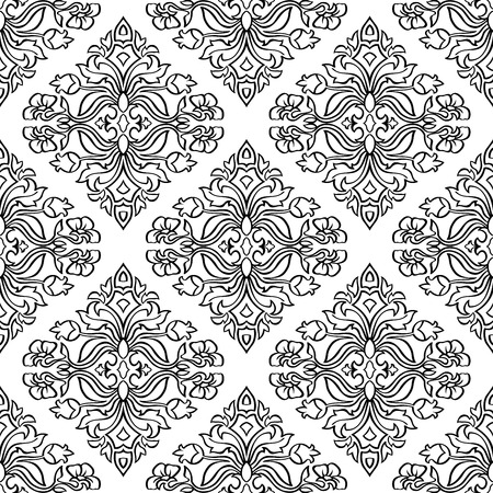 bedcover: Oriental, floral ornament with damask. Templates for carpet, textile, wallpaper, bedcover and any surface. Seamless vector pattern of black contours on a white background.