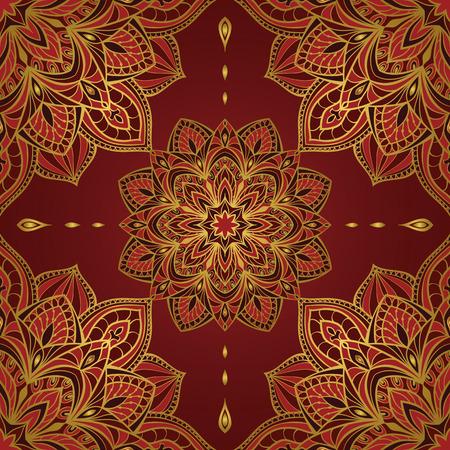 濃い赤の背景にマンダラのシームレスなオリエンタル パターン。ベクトル エレガントな飾り。刺繍、ショール、タペストリー、カーペット、包装、