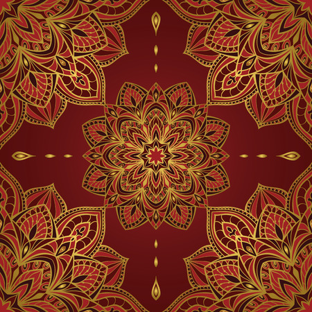 Seamless oriental pattern of mandalas on a dark red background. Vector elegant ornament. Stylized template for embroidery, shawl, tapestry, carpet,wrapping, textile.