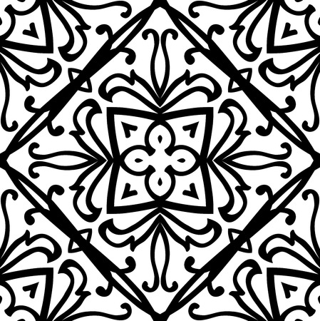 stencil: Oriental, abstract ornament. Templates for carpet, textile, wallpaper, tile, mosaic. Seamless vector pattern of black contours on a white background.