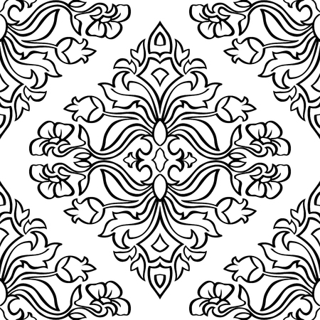 bedcover: Oriental, floral ornament with damask. Templates for carpet, textile, wallpaper, bedcover, tile and any surface. Seamless vector pattern of black contours on a white background.