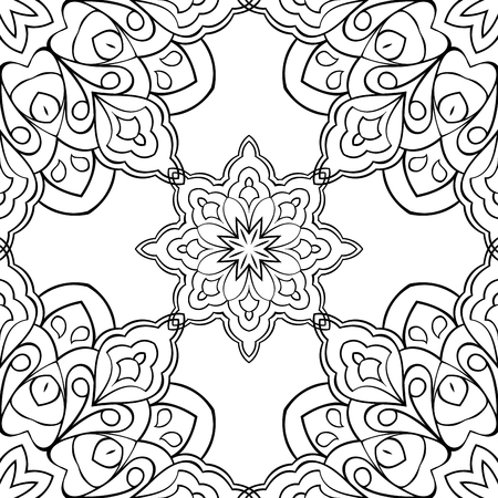 shawl: Eastern ornament of mandalas. Filigree black-and-white pattern. Vector background. The pattern for embroidery, carpet, shawl.