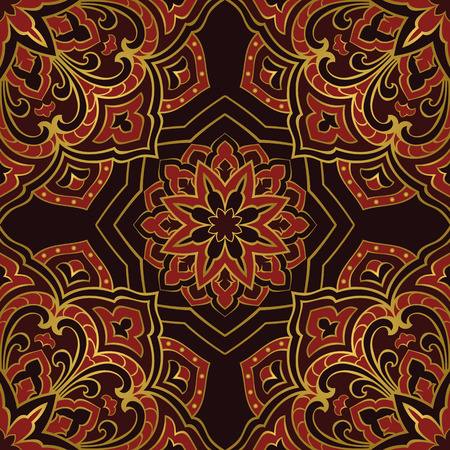 shawl: Seamless pattern of abstract mandala on a dark background. Oriental ornament. Template for carpet, shawl, wallpaper, embroidery.