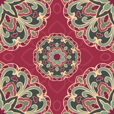 burgundy background: Seamless pattern of  mandala on a burgundy background. Oriental ornament. Template for carpet, shawl, wallpaper, embroidery.