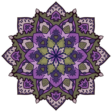 lilas: Oriental vector purple mandala. Round design element for carpets, shawls and any surface. Template for ornament. Filigree circle pattern.