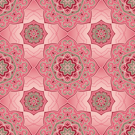 linens: Oriental seamless pattern of mandalas. Vector pink ornament. Template for shawls, scarves, blankets, textiles, carpet, linens.