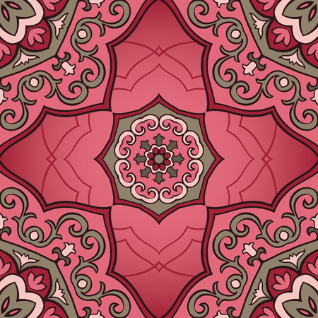 Oriental seamless pattern of mandalas. Vector pink ornament. Template for shawls, scarves, blankets, textiles, cushions.
