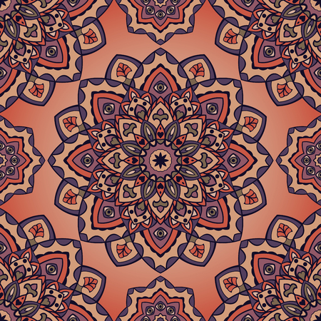 bedding: Vector seamless pattern of mandalas. Oriental vintage ornament. Template for textiles, wallpaper, shawls, carpets, pillowcase, bedding, wrapping paper.