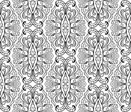 Stilisierte Blumenverzierung. Vorlagen für orientalische Teppiche, Tapeten, Textilien und jeder Oberfläche. Nahtlose Vektor-Muster von schwarzen Konturen auf weißem Hintergrund.