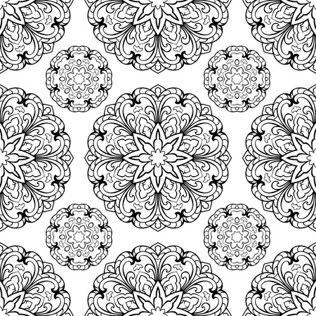 shawl: Seamless pattern of abstract mandala on a white background. Oriental ornament. Template for carpet, shawl, wallpaper, embroidery. Illustration