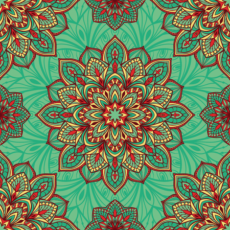 Seamless, eastern pattern of mandalas on a turquoise background. Vector elegant ornament. Stylized template for embroidery, shawl, tapestry, carpet,wrapping, textile.