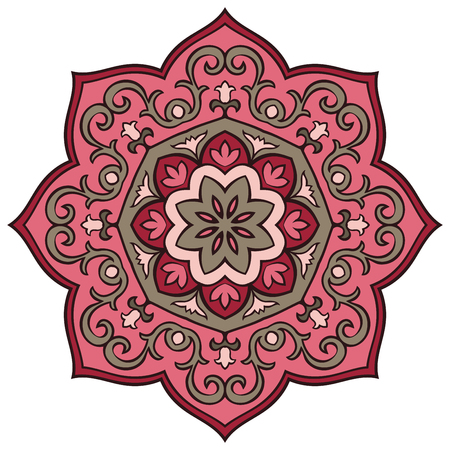 east indian: Oriental floral mandala. Vector simple round ornament. Stylized pink pattern.