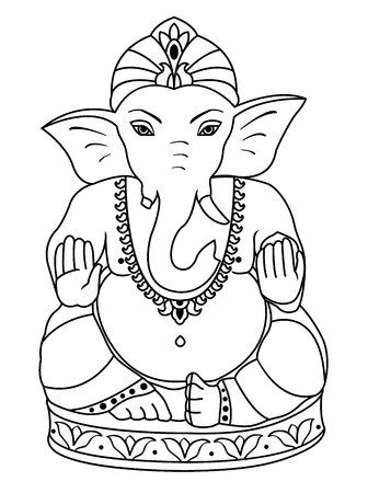 Vector Lord Ganesha. Outline Sketch Of Ganesha For Coloring Book ...