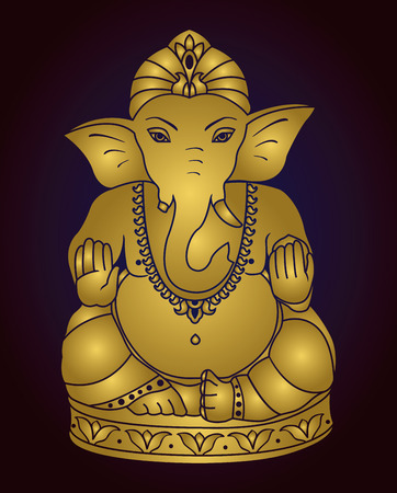 ganesh: Vector Lord Ganesha. Golden Ganesh on a dark blue  background. Illustration