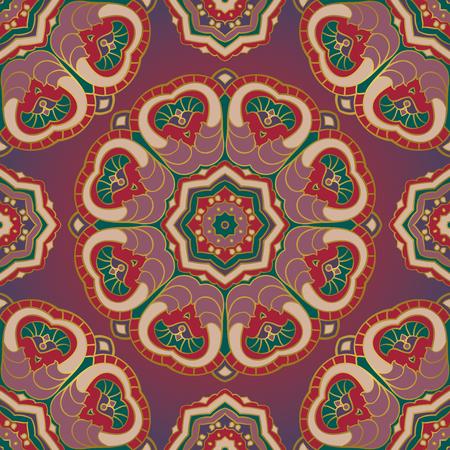 Rich-orientalische Ornament von Mandalas. Sie können dieses Muster für die Schals verwenden, Teppiche, Geschenkpapier, Kissen, Decken und anderen Oberflächen. Standard-Bild - 54397446