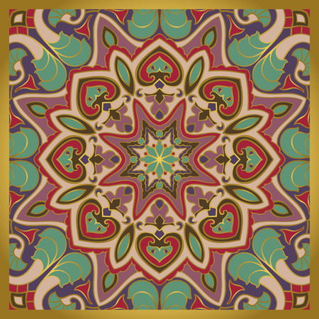 lilas: Vector bright pattern. Print with gold contour and colorful details. Template for carpet, textile, shawl. Elegant rich backdrop with oriental ornament of mandala.