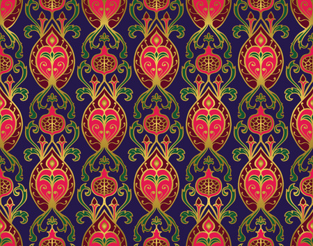 Oriental, bright, vintage pattern with pomegranates. Vector seamless ornament of ornate elements on a indigo background. Old-fashioned blue wallpaper. Template for the textile, carpet, bedcover, curtain, tablecloth. Ilustração