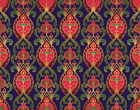 Oriental, lumineux, motif vintage avec grenadiers. Vector seamless ornement d'éléments ornementaux sur un fond d'indigo. Old-fashioned papier peint bleu. Modèle pour le textile, tapis, couvre-lit, rideau, nappe.
