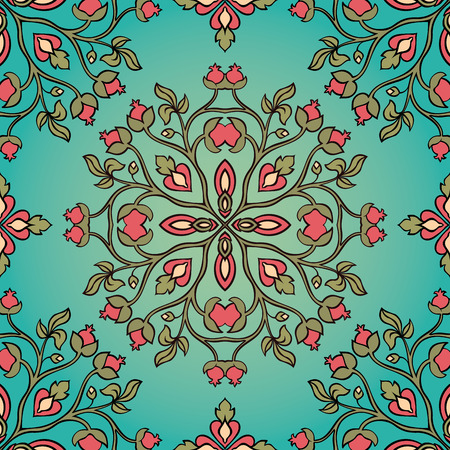 shawl: Beautiful floral ornament. Seamless summer pattern on a blue background. Template for textile, shawl, carpet. Illustration