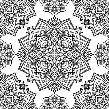 Seamless pattern of abstract mandala on a white background. Oriental ornament. Template for carpet, shawl, wallpaper, embroidery.  イラスト・ベクター素材