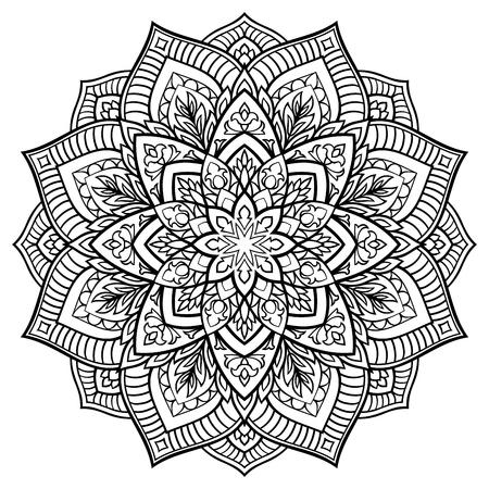 白の背景にベクトル輪郭マンダラ。東洋の飾り。デザインのラウンドの要素です。タトゥーをスケッチします。
