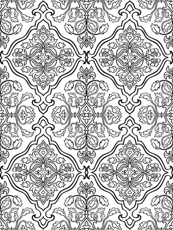 oriental rug: Oriental, floral ornament. Templates for carpets, textiles, wallpaper and any surface. Seamless vector pattern of black contours on a white background. Illustration