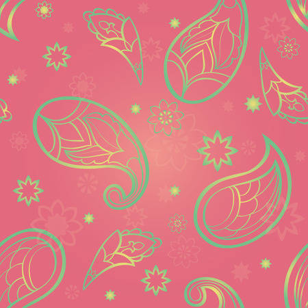 chatoyant: Ornament of stylized paisley, flowers and stars. Vector seamless pattern. Template for textile, wrapping, linen, wallpaper.