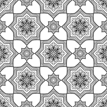 shawl: Seamless pattern of abstract mandala on a white background. Oriental geometric ornament. Template for carpet, shawl, wallpaper, embroidery. Illustration