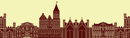 old buildings: Seamless pattern with europe architectural monuments of Prussia. Template for any surface. Vector silhouettes of old buildings in Kaliningrad.