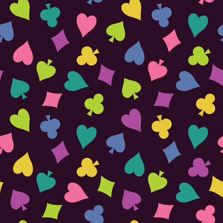 lilas: Seamless, vector background with colorful suits of  playing cards. Old purple cloth with a pattern of club,  diamond, spade, heart. Illustration