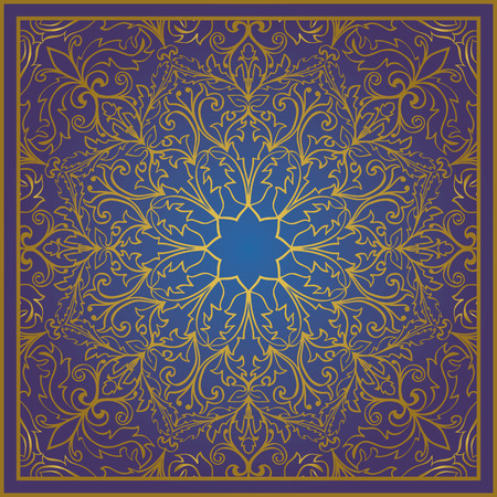 bedcover: Seamless vector blue background with contour element. Chic oriental ornament. Template for fabric, wallpaper, textiles, bedcover, carpet, tile, shawl. Stylized colorful baroque pattern.