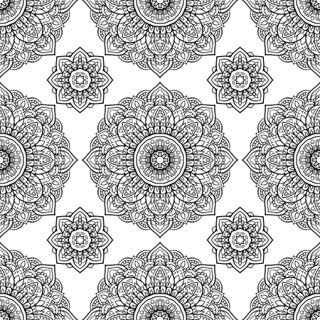 shawl: Oriental seamless pattern of mandalas. Vector black and white background. Template for carpet, textile, shawl.