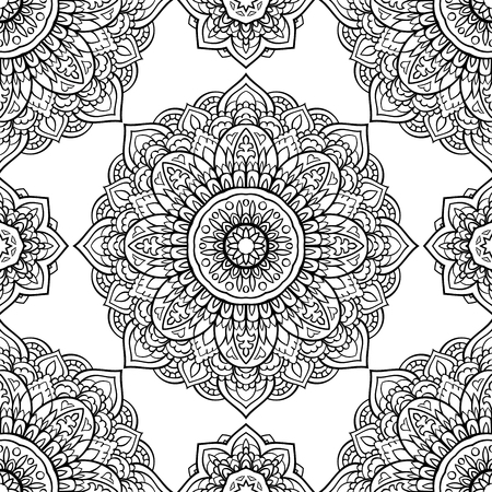 Oriental seamless pattern of mandalas. Vector black and white background. Ilustracja