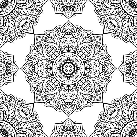 Oriental seamless pattern of mandalas. Vector black and white background. Ilustração